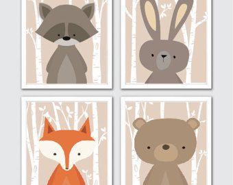 Bosque vivero vivero Animal acuarela arte bosque por RomeCreations