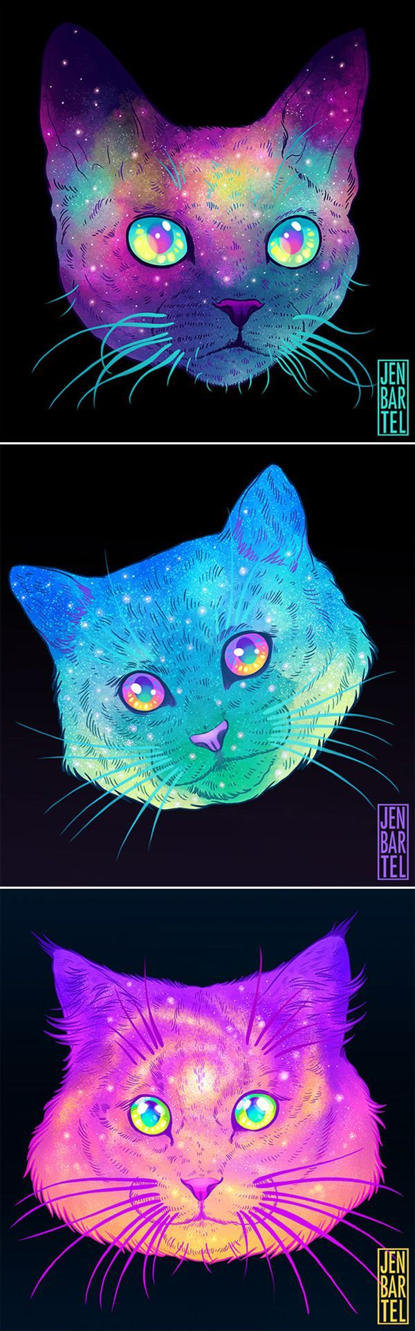 Illustrator Jen Bartel's Awesome Galactic Cats #art #illustrations #cats