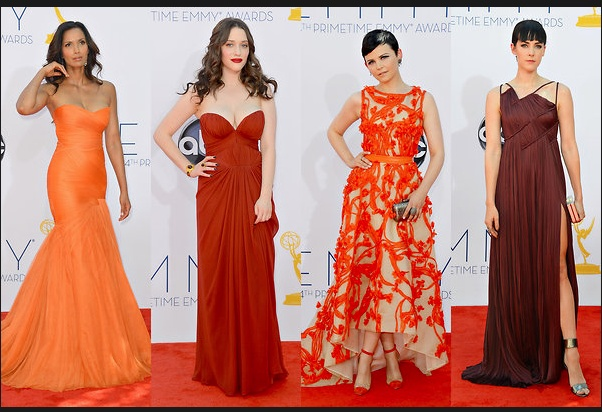 From left, Padma Lakshmi in Monique Lhuillier; Kat Dennings in J. Mendel; Ginnifer Goodwin also in Monique Lhuillier; and Jena Malone is also wearing J. Mendel.  Credit: Frazer Harrison/Getty Images (4) via NYTimes.com