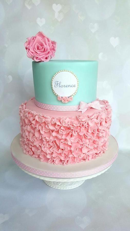 Ruffle christening cake - Cake by Vanilla Iced