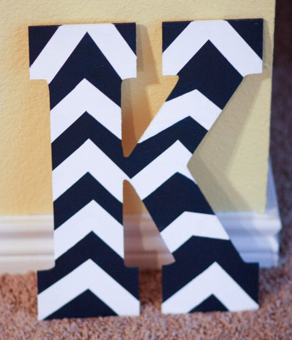 Chevron Painted Letter with Custom Colors by AestheticJourneys, $25.00