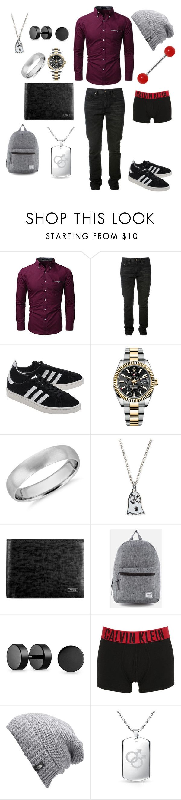 """Untitled #73"" by lexijackson331 on Polyvore featuring Yves Saint Laurent, adidas Originals, Rolex, Blue Nile, Gucci, Tumi, Herschel, Bling Jewelry, Calvin Klein Underwear and The North Face"