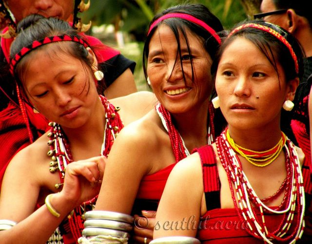 Naga Women. Naga people (Burmese: နာဂ, Hindi: नागा) refers to a conglomeration of several tribes inhabiting the North Eastern part of India and north-western Burma. The tribes have similar cultures and traditions, and form the majority ethnic group in the Indian states of Nagaland, Manipur, Arunachal Pradesh and Assam.