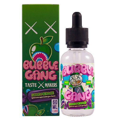 """Bubble Gang E-Liquid Sour Menace - BUBBLE GANG'S SECOND FLAVOR """"SOUR MENACE"""" (SOUR GREEN APPLE BUBBLEGUM) Fresh ripe tartness of green apples mixed with bubble gum makes an awesome and mischievously delicious-juice flavor perfect for a great throughout the day tasting experience.70% VG"""