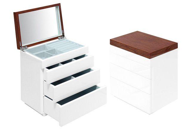 Aura Tall Jewelry Box, White/Walnut | Swing Design