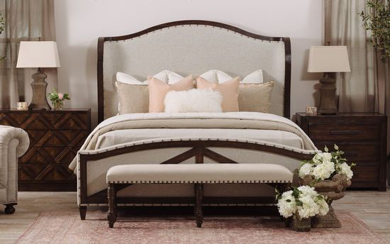 72 Casual Panel Bed In Abbey Cream Bed Furniture Traditional