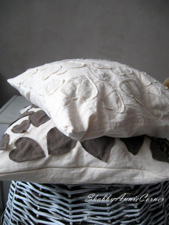 Cream pillow cover White pillow Cream Brown by ShabbyAnnieCorner