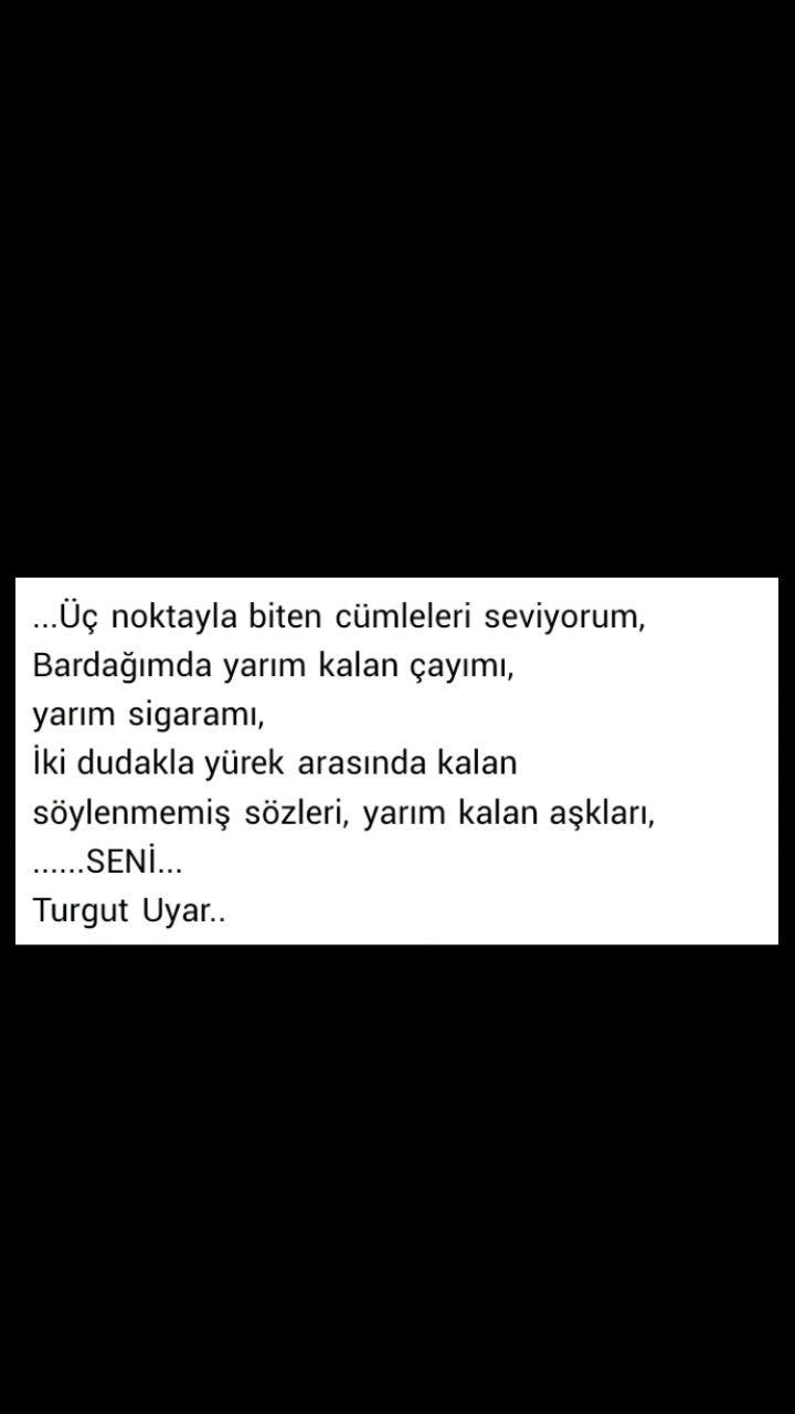 Üç noktayla biten cümleleri seviyorum Turgut Uyar
