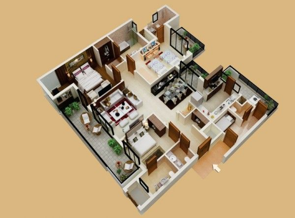 3 Bedroom Apartment With Servants Room 3d House PlansLarge