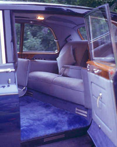 Rolls-Royce Phantom VI, 1969, #PRH4560, Mulliner Park Ward Limousine. One of the last cars with rear-hinged rear doors; stricter safety legislation later was met by an alteration to front-hinged rear doors. Note the special Baroda Blue cloth woven to order by the renowned company Winterbothom, Strachan & Playne