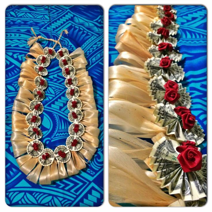 Tongan Money Lei made by me PJ Petersen, design inspired by Tiare Blooms just added Sum Losa Mumu & Fau!!! Malie!!