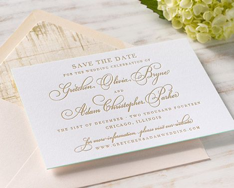 Gold Foil Save the Date paired with a Blush Envelope and Specialty Liner