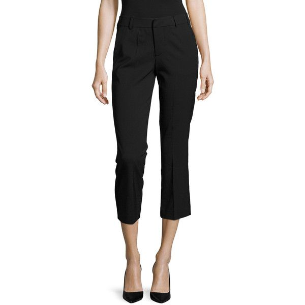 Zadig & Voltaire Women's Posh Deluxe Smoking Crop Pant - Black - Size... ($129) ❤ liked on Polyvore featuring pants, capris, black, zipper pants, zip pants, woven pants, cropped pants and cropped trousers