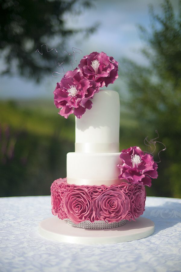 Ruffle Rose Wedding Cake