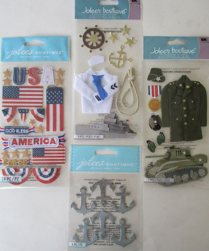 Jolees Boutique Scrapbooking Stickers Lot MILITARY Veteran Army Navy Flag #JoleesBoutique
