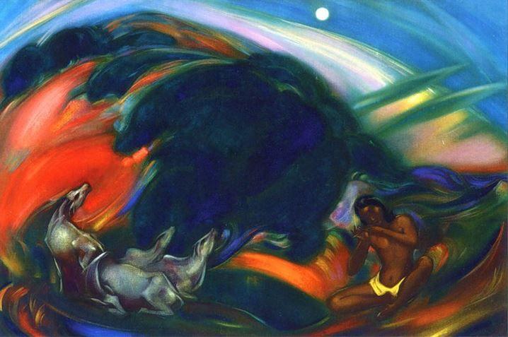 Святослав Рерих. Духовное искусство. Священная флейта 1.  92х139 Холст, темпера, масло. 1946 Svetoslav Roerich