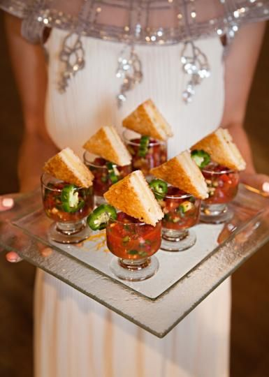 Gourmet grilled chees atop a Mexican gazpacho shooter from Running Wild Catering. Photo by Kristen Edwards Photography. #wedding #latenightbites #catering