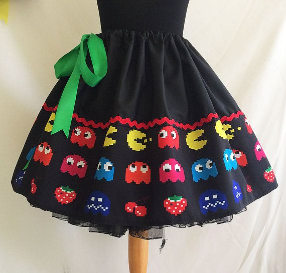 Retro Video Games skirt Geek Clothes ALL SIZES 1980s by RoobyLane