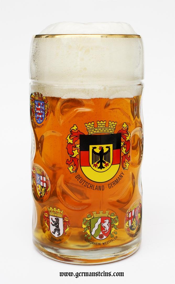 German Crests Dimpled Oktoberfest Glass Beer Mug 1 Liter