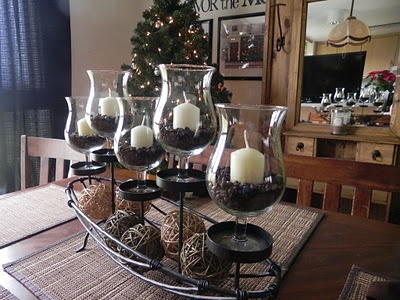 Dining room centerpiece mini hurrican candle holders for Candle dining room centerpieces