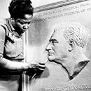 """""""Selma Burke's commissioned sculpture of President Roosevelt is on every American dime!"""" Dorothy Brangman Selma Burke (1900-1995) African American sculptor and educator who founded two art schools. In 1940 she opened the Selma Burke School of Sculpture in New York City and the following year graduat...""""Selma Burke's commissioned sculpture of President Roosevelt is on every American dime!"""" Dorothy Brangman Selma Burke (1900-1995) African American sculptor and educator who founded two art…"""