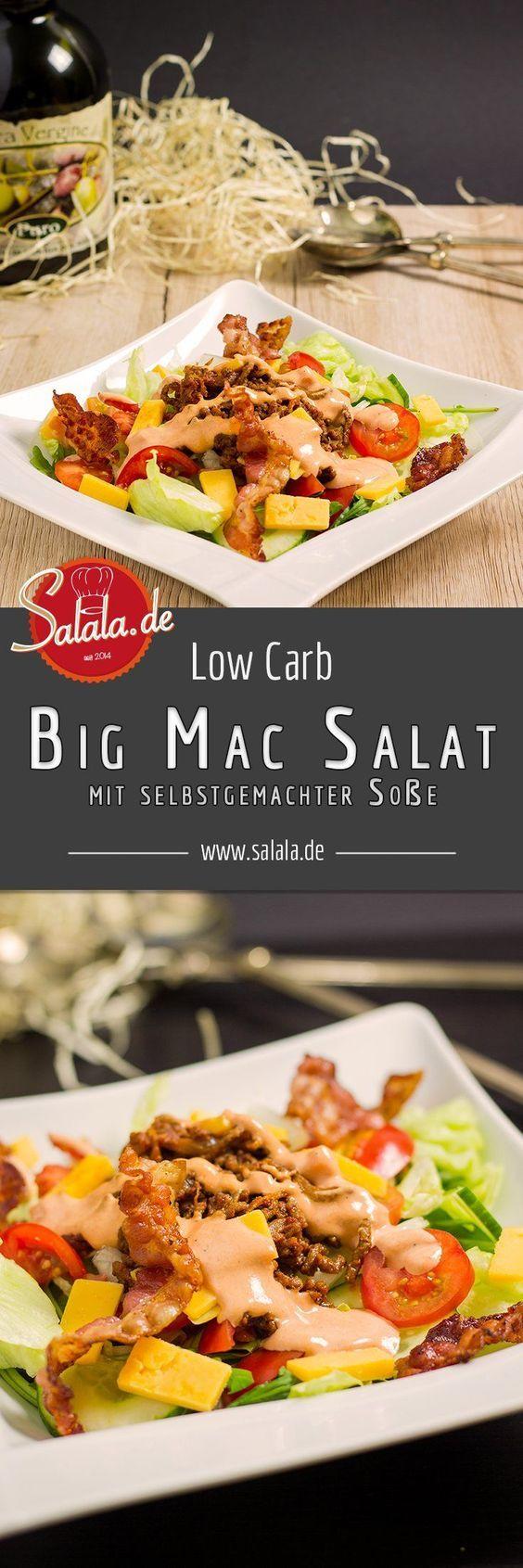 Dieser Low Carb ➤ Big Mac Salat wird Dich aus den Socken hauen. Hackfleisch, Käse, Bacon, Tomaten, Salat und eine absolut hammermäßige Soße! Big Mac Salat? Mächtig, fettig und hammermäßig lecker! UND total low carb und ketogen!