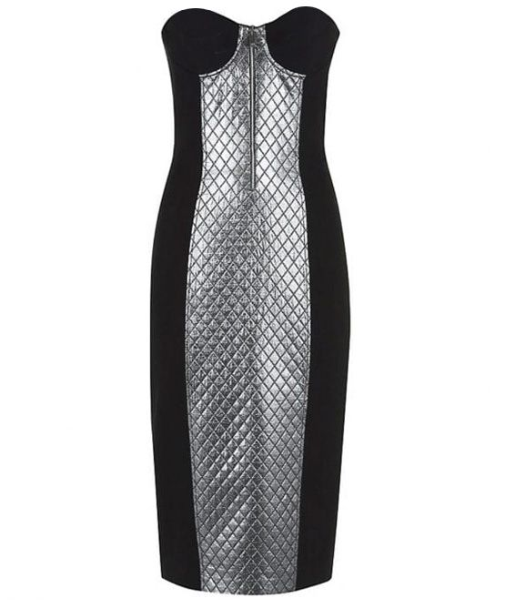 Quilted Panel Boucle Crepe Sheath Dress