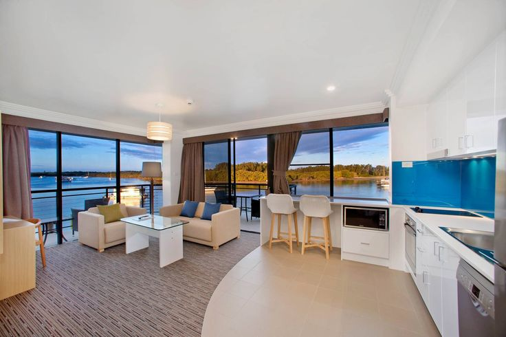 The King suite at Sails Resort Port Macquarie enjoys absolute water views of the Marina and Hastings River.