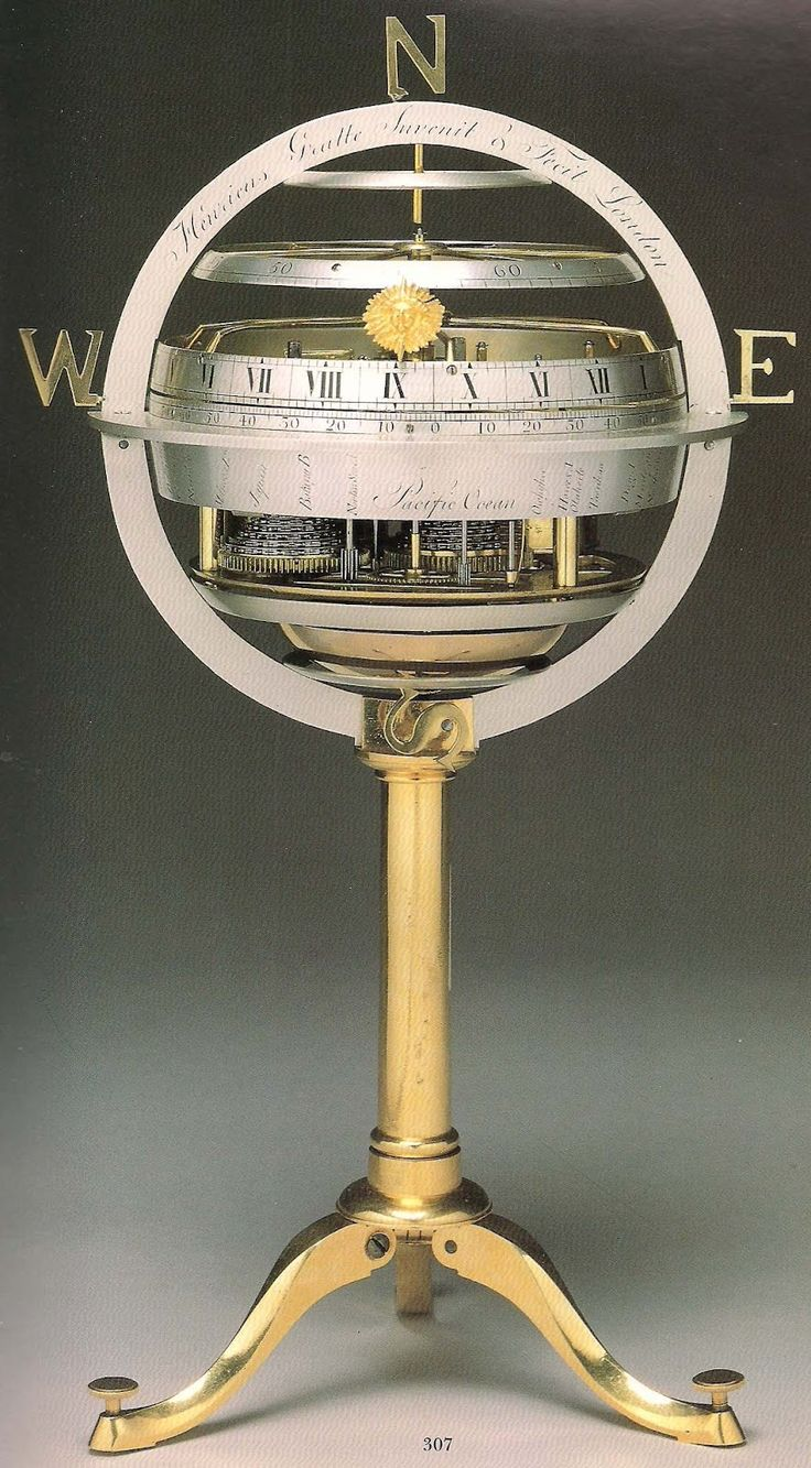 Spherical Eight-Day Skeleton Clock by Henry Gratte, first quarter 19th century.