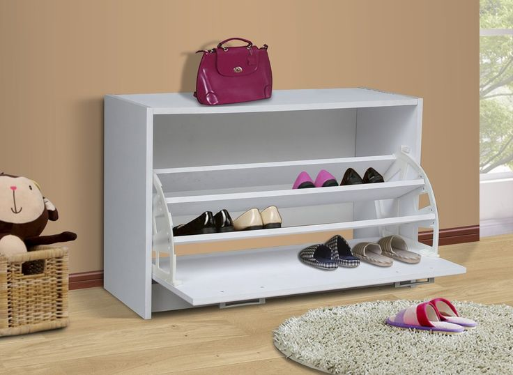 A perfect solution to your shoe storage needs. The single tier cabinet is decorative with a shaped vacuum formed front. The drawer opens with a shaped pewter colored handle for easy opening. The 1 drawer pivots open on a uniquely designed plastic bracket to 3 fixed shelves that are able to store up to 12 pairs of shoes (Max size men's 10 depending on style of shoe)..  Constructed of Composite Board and highly durable PVC laminate.  Clean with a dry non abrasive cloth. Assembly required &l...