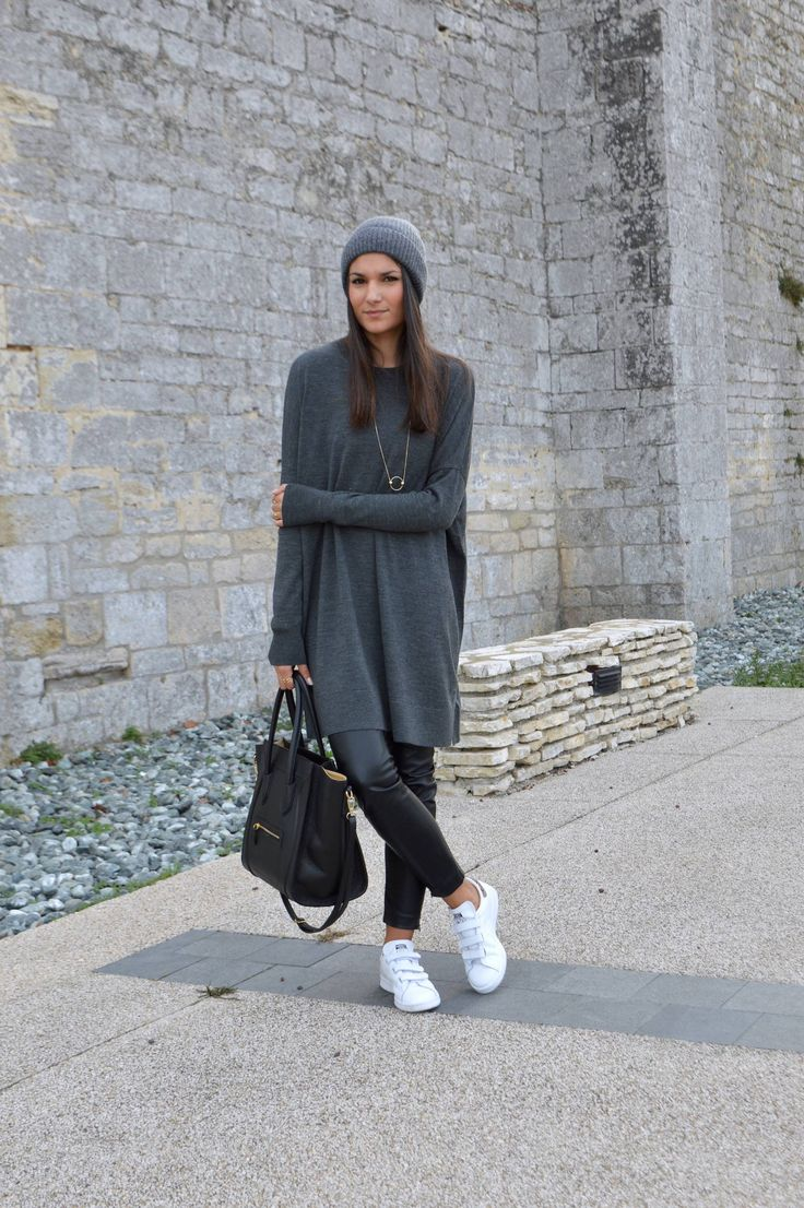 sweater: And Other Stories, leggins: H&M, sneakers: Zalando, beanie: H&M, necklace: And Other Stories (june sixty-five)