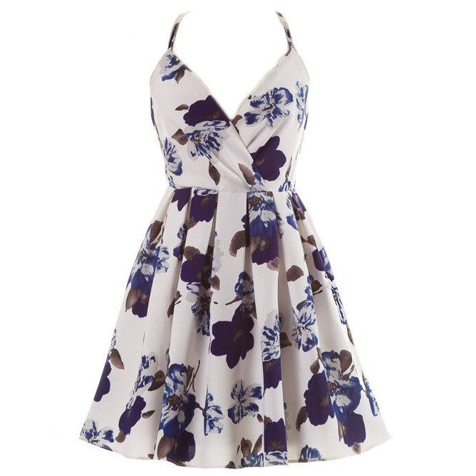 Sleeveless spaghetti strap dress with cross back and floral print 97% Polyester 3% Spandex