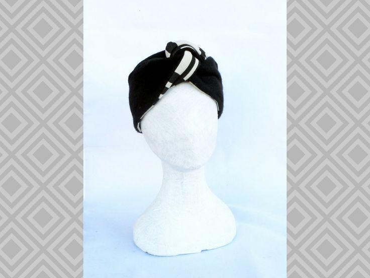 Fascia scalda testa con nodo centrale turbante nero optical sabbia lana foderata : Cappelli, berretti di filoecoloridiila