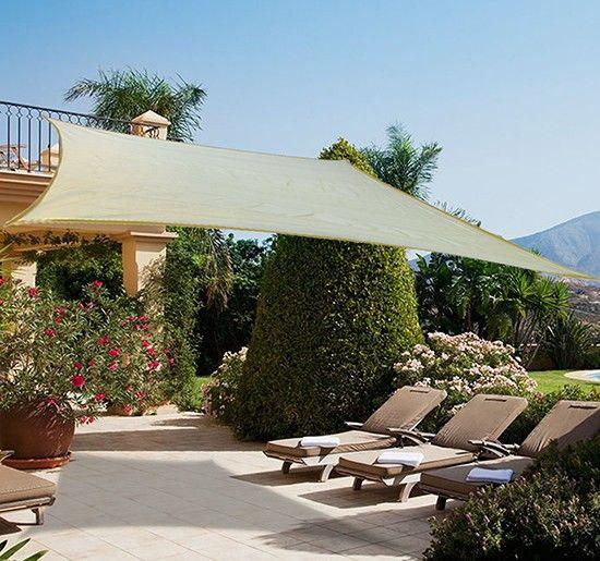 toldo vela sombrilla parasol cuadrado xm x m x m terraza jardin camping color crema