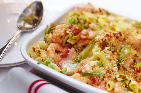Gluten-free seafood pasta bake