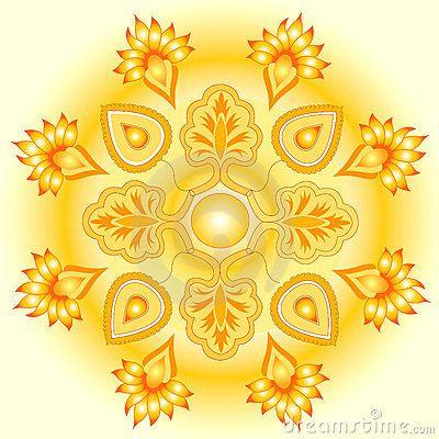 Mandala golden sun design