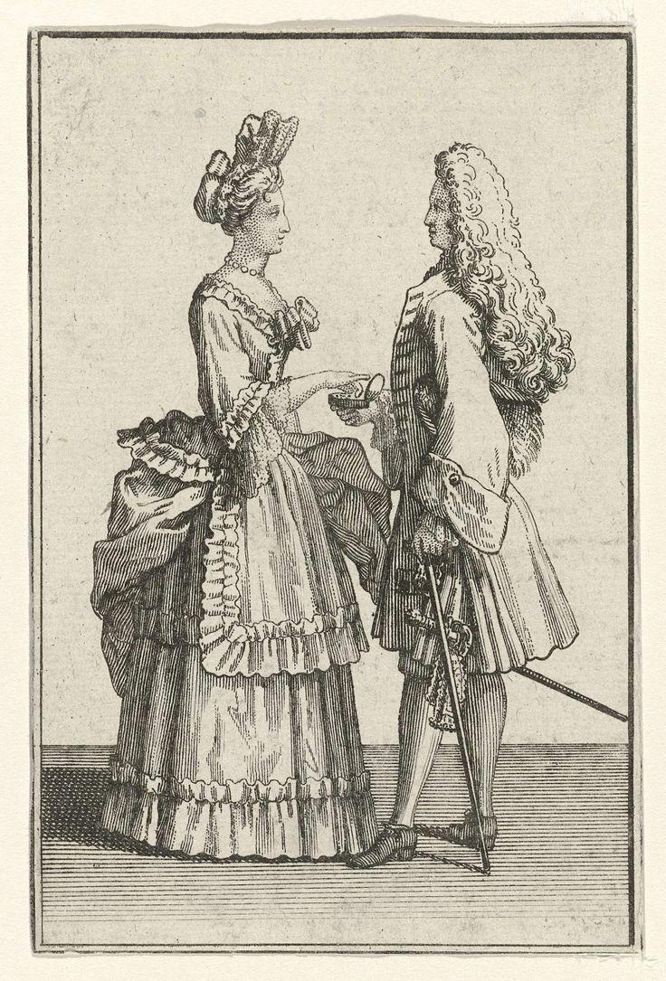 Staande vrouw en man met snuifdoos, possibly Bernard Picart, 1683 - 1733