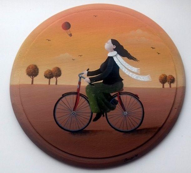 Frčistka+malba+akrylem+na+dřevěném+prkýnku+průměr+22+cm