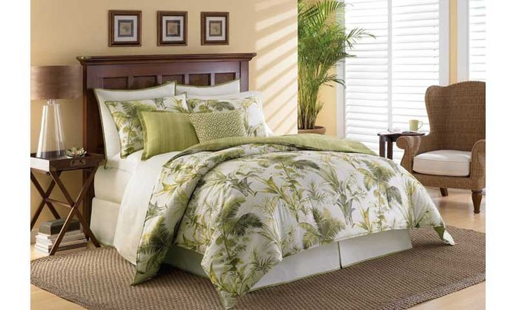 Tommy Bahama Island Botanical Lime Green Comforter Queen