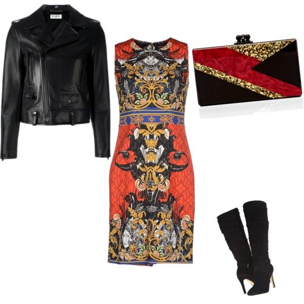 A fashion look from December 2015 featuring A'biddikkia dresses, Yves Saint Laurent jackets and GUESS boots. Browse and shop related looks.