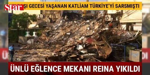 Yılbaşı katliamının yapıldığı ünlü eğlence mekanı Reina yıkıldı: Yılbaşı gecesi terör örgütü DEAŞ tarafından düzenlenen terör saldırısında 39 kişinin hayatını kaybettiği eğlence merkezi Reina'da sabah saatlerinde yıkım yapıldı. İş makinelerinin erken saatlerde başladığı yıkımda Reina'nın giriş kısmı hariç tamamı yıkıldı. Reina çalışanları yıkımdan haberleri olmadığını, sabah geldiklerinde yıkımın gerçekleştiğini gördüklerini belirtti. Öte yandan Reina çalışanları basın mensuplarının yıkılan…