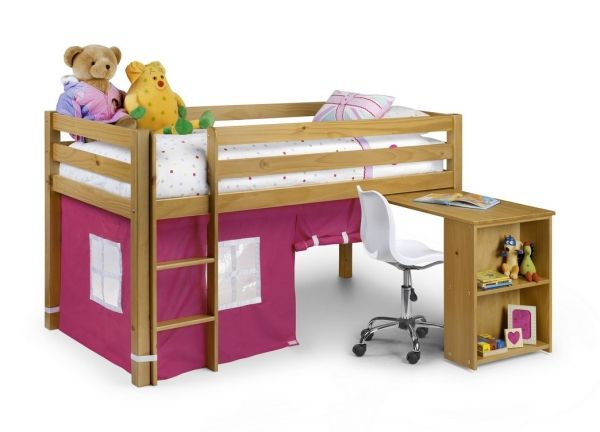 <p><b>Finish: </b>Natural Pine </p> <p><b>Dimensions: </b>100d x 199w x 113h</p> <p>Manufactured from solid pine. This cabin beds includes a pull out desk and   has a play house underneath with a pink or blue design. It accepts a standard 90cms single mattress. Available    flat packed only. <br> </p>