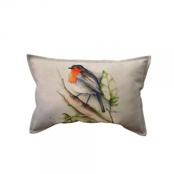 ROBIN LONG CUSHION. collection: Little Precious A metaphor of Spring celebrating the tiny, dynamic and colourful details of a garden in bloom. Little Precious is a capsule collection developed from the watercolour illustrations signed by Irina Neacsu. Composition: digital print on textile. Dimensions: width:60 cm, height:40 cm.  Irina Neacsu Studio. Romania. Art. Design. Arhitect. Digital print. Cushion. Bird. Colorful. Collection. Spring. Watercolor. Garden bloom.