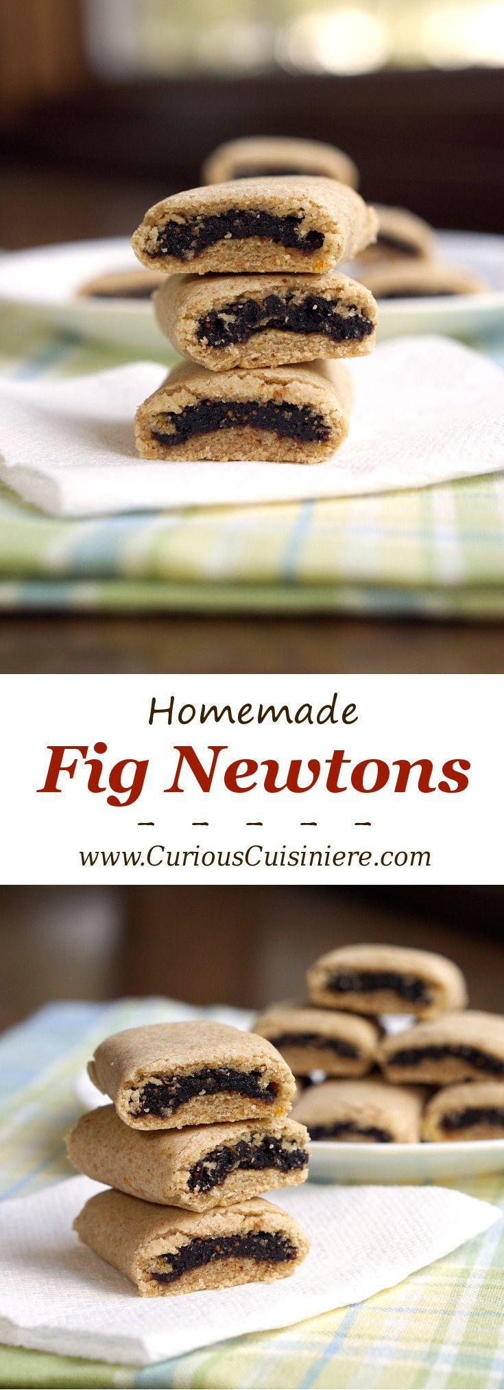 Our easy Fig Newton recipe brings the deep sweetness of figs together with a tender cookie crust.   www.CuriousCuisiniere.com