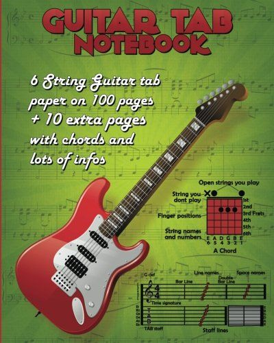 Guitar TAB Notebook: 100 Pages Blank Guitar TAB Paper (10 large staves per page)+ 11 Extra pages (All Chords, How to read and write Guitar TABs, Key ... many more important information about guitar)  US $5.49 & FREE Shipping  #bigboxpower
