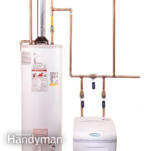 How to Plumb a Water Softener  Branch off cold water lines to outdoor faucets before running the cold water through the water softening system.