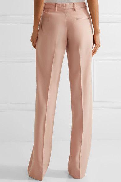 Miu Miu - Grain De Poudre Stretch-wool Wide-leg Pants - Blush - IT
