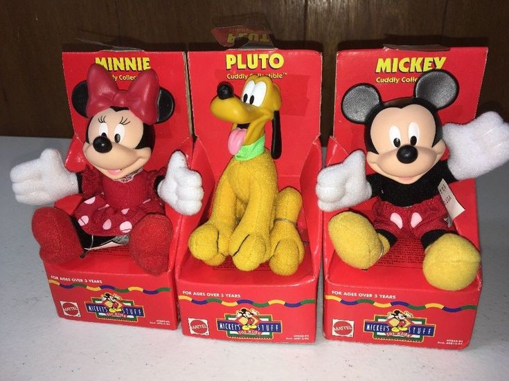 Vintage Mickey's Stuff Disney Cuddly Collectible Lot of 3 Mickey, Minnie & Pluto #Disney