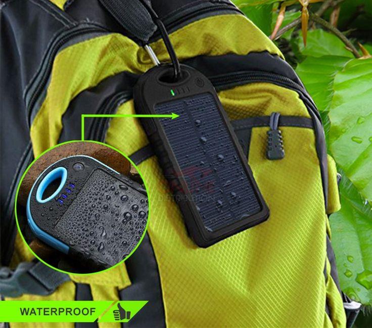 detalhes do carregador solar portatil a prova d'agua power bank charger