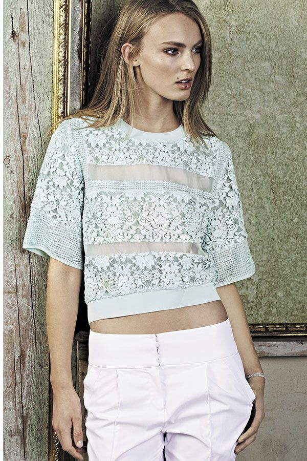 b9911c12232bd8 Loving this lace paneled top by Rebecca Taylor.